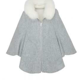 Womens Cashmere Poncho with Raccoon