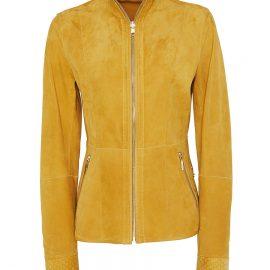 Reversible Swan Neck Metis Suede Jacket – Yellow