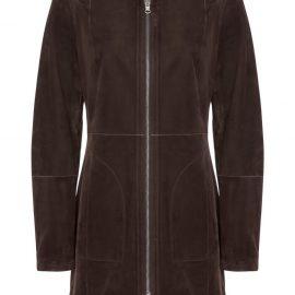 Hooded Reversible Suede Long Coat – Coffee