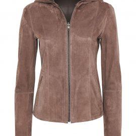 Hooded Reversible Metis Suede Jacket – Rose