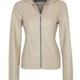 Womens Reversible Leather Jacket with Hoddy