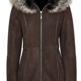 Womens Hooded Shearling Coat with Raccoon