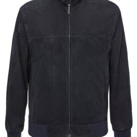 Mens Genuine Suede Jacket with Tricot – Navy
