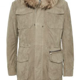 Mens Hooded Suede Long Coat with Raccoon